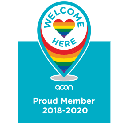 ACON 'Welcome Here' membership badge